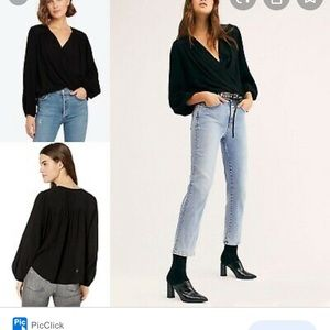 """FREE PEOPLE. Black """"check on it"""" top"""